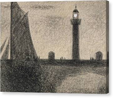 Yachts Canvas Print - The Lighthouse At Honfleur by Georges Pierre Seurat