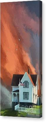 Nubble Lighthouse Canvas Print - The Lighthouse Keeper's House by Lois Bryan