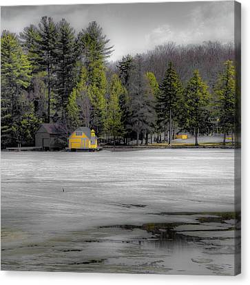 Canvas Print featuring the photograph The Lighthouse On Frozen Pond by David Patterson