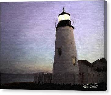 Canvas Print featuring the painting The Lighthouse by Wayne Pascall