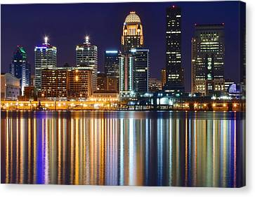 The Lights Of A Louisville Night Canvas Print by Frozen in Time Fine Art Photography