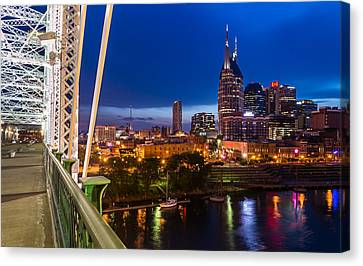 The Lights Of Music City Canvas Print by Clay Townsend