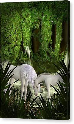 The Lineage Of Unicorns Canvas Print by Emma Alvarez