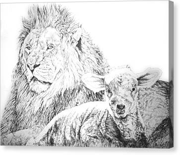 Canvas Print featuring the drawing The Lion And The Lamb by Bryan Bustard