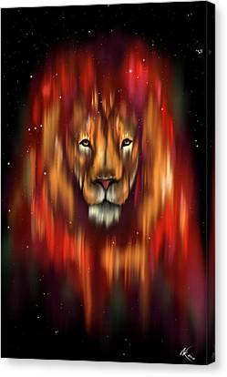 The Lion, The Bull And The Hunter Canvas Print
