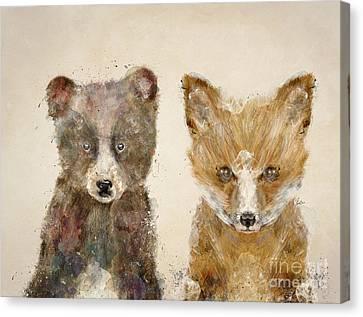 The Little Bear And Little Fox Canvas Print by Bri B