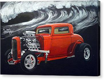 Canvas Print featuring the painting The Little Deuce Coupe by Richard Le Page