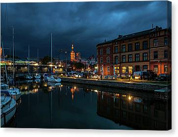 The Little Harbor In Stralsund Canvas Print by Martina Thompson