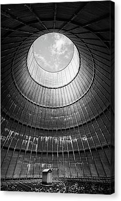 Canvas Print featuring the photograph the little house inside the cooling tower BW by Dirk Ercken