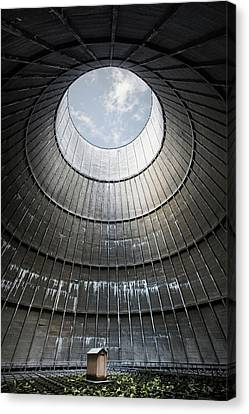 Canvas Print featuring the photograph The Little House Inside The Cooling Tower by Dirk Ercken