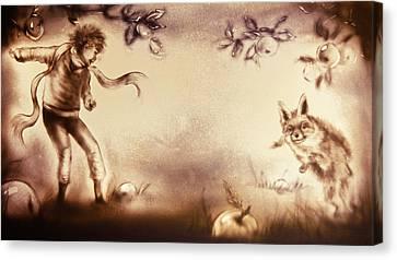The Little Prince And The Fox Canvas Print by Elena Vedernikova