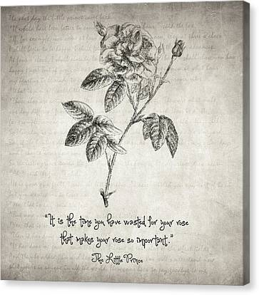 The Little Prince Rose Quote Canvas Print by Taylan Apukovska