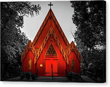 The Little Red Church In Black And White Canvas Print