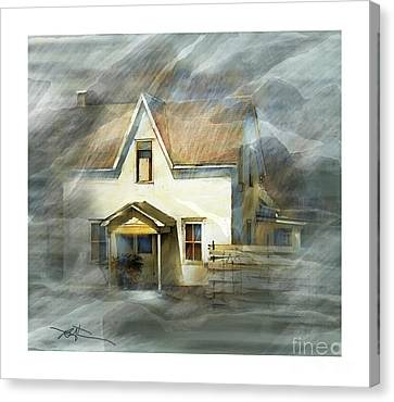 The Little White House On Hwy 6 Canvas Print by Bob Salo