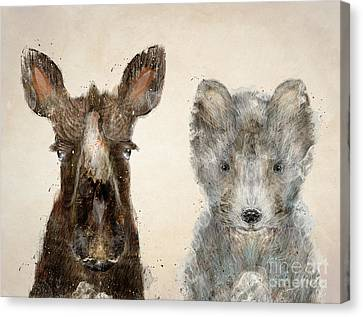 The Little Wolf And Moose Canvas Print