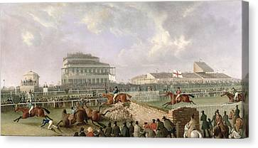 The Liverpool And National Steeplechase At Aintree Canvas Print by William Tasker