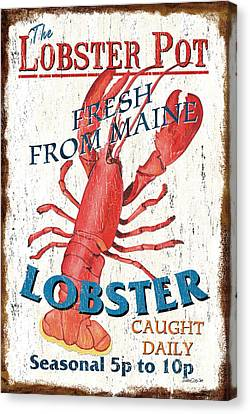 Vintage Sign Canvas Print - The Lobster Pot by Debbie DeWitt