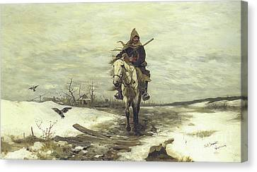 The Lone Hunter Canvas Print by Jozef Brandt