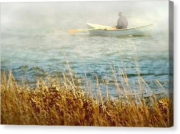 Row Boat Canvas Print - The Lone Rower by Diana Angstadt