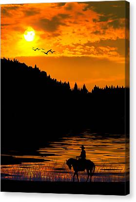 The Lonesome Cowboy Canvas Print by Diane Schuster