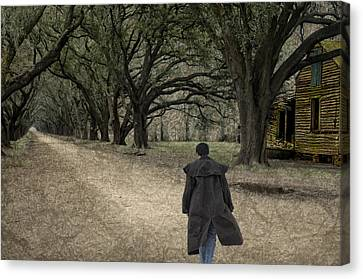 Colonial Man Canvas Print - The Long Road Home by Mitch Spence