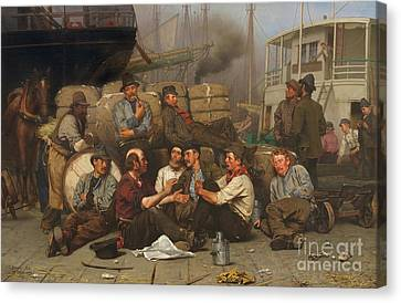 The Longshoremen's Noon Canvas Print by John George Brown