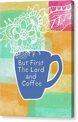 The Lord And Coffee- Art By Linda Woods Canvas Print by Linda Woods