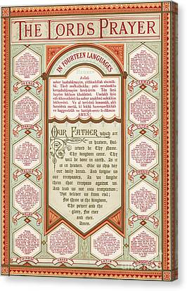 The Lord's Prayer In 14 Languages Canvas Print by English School