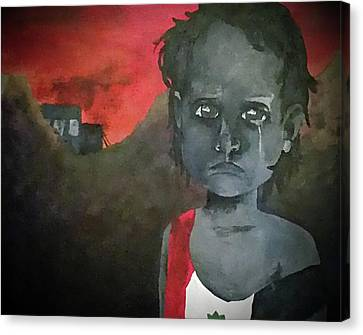 Canvas Print featuring the digital art The Lost Children Of Aleppo by Joseph Hendrix