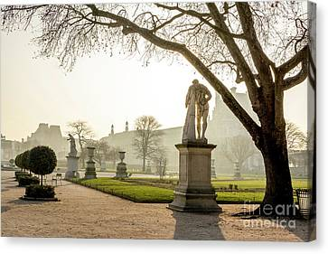 The Louvre Seen From The Garden Of The Tuileries. Paris. France. Europe. Canvas Print