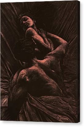 Long Bed Canvas Print - The Lovers by Richard Young