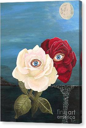 Canvas Print featuring the painting The Lovers  Roses By Night by Eric Kempson