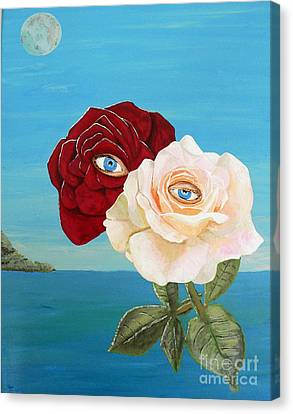 Canvas Print featuring the painting The Lovers  Roses by Eric Kempson