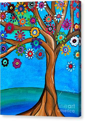 Canvas Print featuring the painting The Loving Tree Of Life by Pristine Cartera Turkus