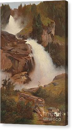 The Lower And Middle Krimmler Falls Canvas Print