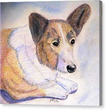 Working Dog Canvas Print - The Loyal Corgi by Angela Davies