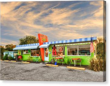 The Lucky Dog Diner At Sunset - 1 Canvas Print