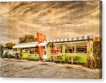 The Lucky Dog Diner At Sunset - 3 Canvas Print