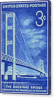 The Mackinac Bridge Stamp Canvas Print by Lanjee Chee