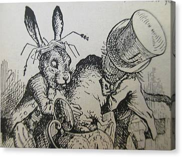 The Mad Hatter And The March Hare Try To Put The Dormouse Into The Teapot Canvas Print by David Lovins