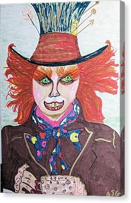 Canvas Print featuring the drawing The Mad Hatter by Barbara Giordano