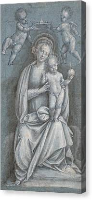 The Madonna And Child Crowned By Two Angels Canvas Print by Bernardino Lanino