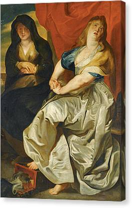The Followers Canvas Print - The Magdalene Repenting Of Her Wordly Vanities by Follower of Peter Paul Rubens