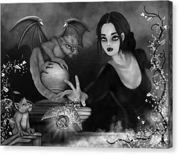 The Magic Rose - Black And White Fantasy Art Canvas Print by Raphael Lopez