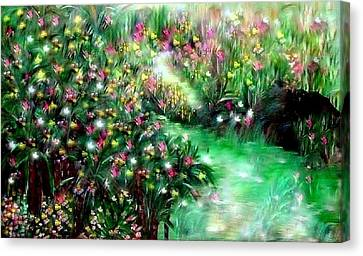 Canvas Print featuring the painting The Magical Garden by Sherri  Of Palm Springs