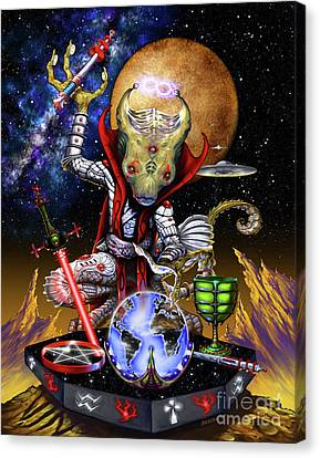 Canvas Print featuring the digital art The Magician 78 Tarot Astral Card by Stanley Morrison
