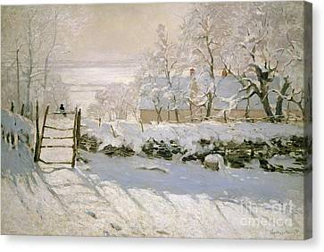 Snow Landscape Canvas Print - The Magpie by Claude Monet