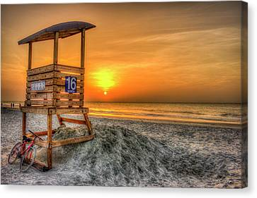 Canvas Print featuring the photograph The Main Attraction Tybee Island Sunrise Lifeguard Stand Beach Art by Reid Callaway