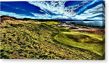 Tournament Canvas Print - The Majestic Hole #16 At Chambers Bay by David Patterson