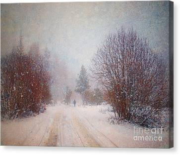 The Man In The Snowstorm Canvas Print by Tara Turner